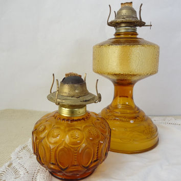 Glass oil lamp vintage lighting amber yellow