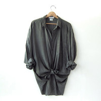 90s silk shirt. dark gray blouse. oversized silk top. long sleeve silk shirt.