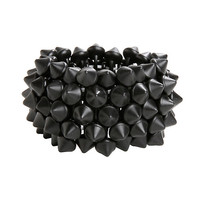 Matte Black Cone Stud Stretch Bracelet