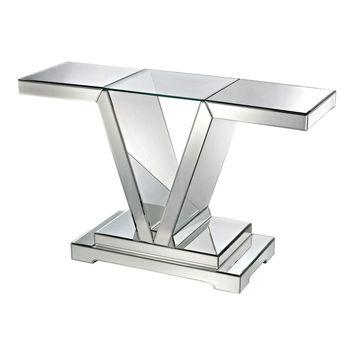 Mirrored Console Table With Clear Glass Top Clear