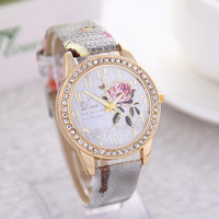 Peony Pattern Gilt Digital Casual Leather Watch