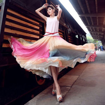 Fashion multicolour full chiffon skirt bohemia colorful full skirt