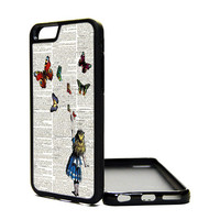 Apple iPhone 6 5C 5S 4S Generation Fitted Rubber Silicone TPU Phone Case Cover Alice In Wonderland Cute Butterflies Dictionary Hipster Fairy
