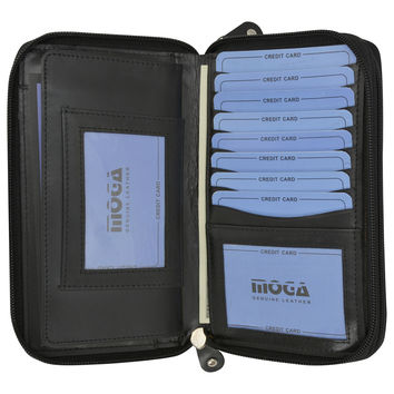 Moga Zip Around High End Leather Ladies Credit Card ID Wallet with Removable Checkbook Holder 94575