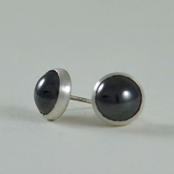 Black Stud Earrings - Large 8mm Black Gemstone Sterling Silver Stud Earrings  by Gioielli Designs