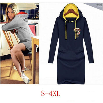 Women's Causal Dress Show Thin 2015 Autumn Winter Thicken Plus Size Dresses Hooded Dress Hot Sale S-4XL = 1958548420