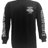 Harley-Davidson Men's Skull Lightning Crest Graphic Long Sleeve Shirt, Black