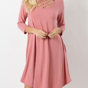 Feeling Strappy 3/4 Sleeve Tunic Dress