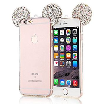 iPhone 7 Plus Case, Lovely Animal 3D Glitter Bling Mouse Ears with Sparkly Diamond Soft Rubber Clear Case for iPhone 7 Pro/7Plus 5.5 Inch