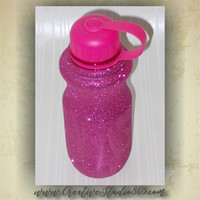 PINK Glitter Water Bottles - 28oz bottle - bpa free - water bottles - water intake bottle - cute bottles