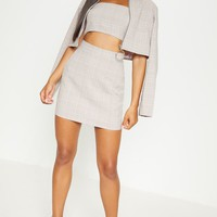 Mocha Check High Waisted Skirt