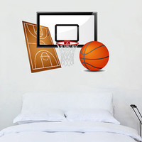 Fulcolor Wall Decal Vinyl Sticker Decals Art Decor Design Bastetball Basket Balls Team Game Sport Boys room guys Girf Bedroom Office(rcol20)