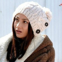 Plain Button Knitted Hat,Cheap in Wendybox.com