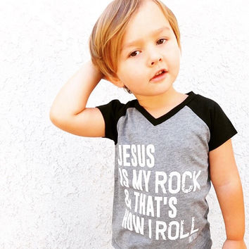 Jesus Is My Rock Kids Tee - Black