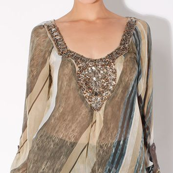 Beaded Sheer Silk Blouse