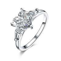 Ring. 925 Sterling Silver Wedding Engagement Promise Ring 2 Carat Heart Jewelry Simulated Diamond