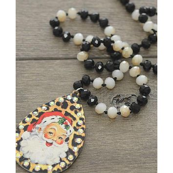 Leopard Holiday Santa Necklace