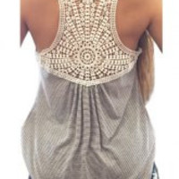 Gray Lace Striped Embroidered Tank Top