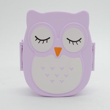 Kawaii Candy Color Owl LunchBox Microwave Oven Bento Container Case Dinnerware Children\\\'s Birthday Gift