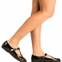 Scarlett Flat Mary Jane Shoes in Shiny Black