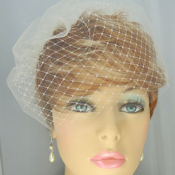 "Double Russian Style Birdcage Blusher 9"" Classic Bridal Veil"
