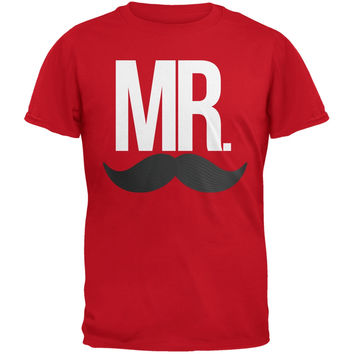 Mr. Mustache Red Adult T-Shirt
