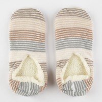 Full Tilt Old Hollywood Striped Slipper Socks Ivory