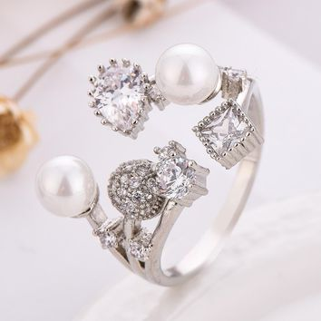 Cute Bear 925 Sterling Silver Rings For Women Simple Pearl Design Open Ring For Lover Best Gifts Fashion Jewelry