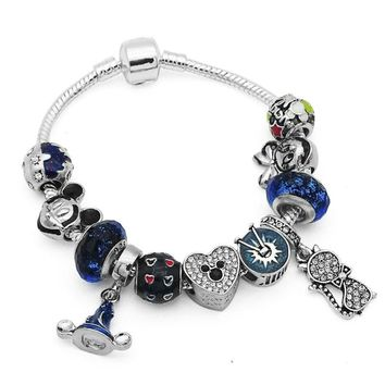 Halloween New Gifts Witch Hat & Cat Pendant Charms Bracelet