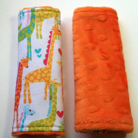 Car Seat Strap Covers  Reversible  Giraffe Love  by DancingKat