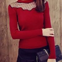Long Sleeve Sheer Panel Knitwear