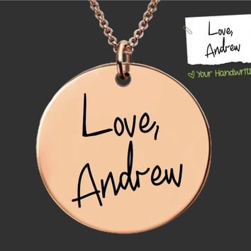 Rose Gold Design Your Own Custom Handwriting Necklace