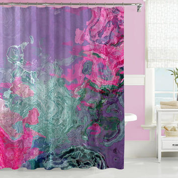 Abstract shower curtain, contemporary bathroom decor, pink, purple and aqua shower curtain, art shower curtain, from original art Berry Baby