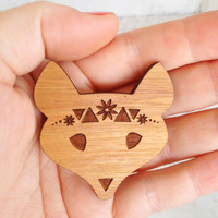 Summer Love Fox Brooch - Raw Wood Laser Cut - Tasmanian Blackwood