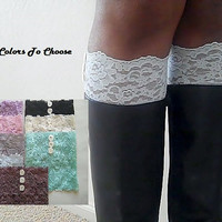 Boot Cuffs - Lace Boot Cuffs with Buttons - Faux Lace Boot Socks - Faux Lace Leg Warmers -  Lace Boot Topper - Extra Wide Lace