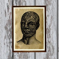 Tribal man with tattoos print Antiqued paper Vintage art Old looking Antique style