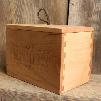 Letterpress Recipe Box with Lid