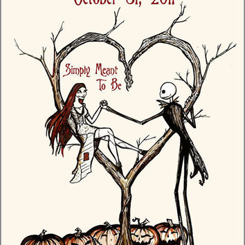 Burton Inspired Nightmare before Christmas Design  -  Wedding Programs - diy printable file  -  digital file  -   print as many as you want