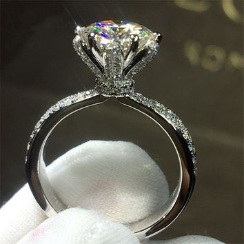 choucong Flower Jewelry Women 925 sterling Silver ring 3ct Diamonique 5A Zircon Cz Engagement Wedding Band Rings For Women Gift