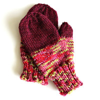 Hand knit mittens, burgundy, winter clothing, girls mittens, hand warmers, pink, mauve, winter