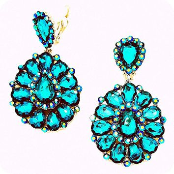 Ab Teal Blue Zircon Rhinestone Big Clip-on Silver Earrings Pageant Drag Queen Wedding Bridal Evening