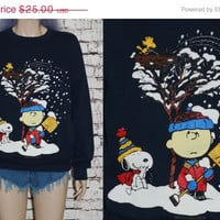 snoop sweatshirt charlie brown christmas ugly sweater holiday party cartoon navy graphic tee hipster peanuts xs