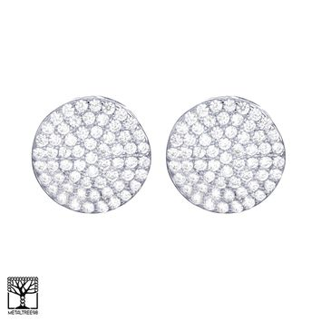 Jewelry Kay style Men's Fashion CZ Brass Silver Plated 3D Round Screw Back Stud Earrings BE 024 S