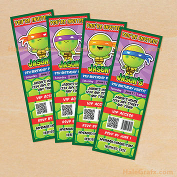 Printable Teenage Mutant Ninja Turtles Inspired Ticket Invitations