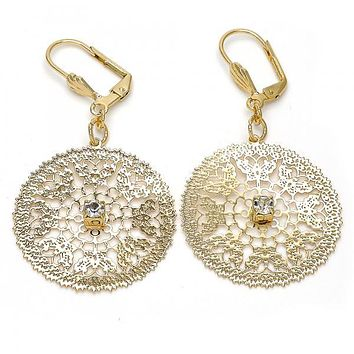 Gold Layered 073.009 Dangle Earring, Filigree and Butterfly Design, with White Crystal, Polished Finish, Gold Tone