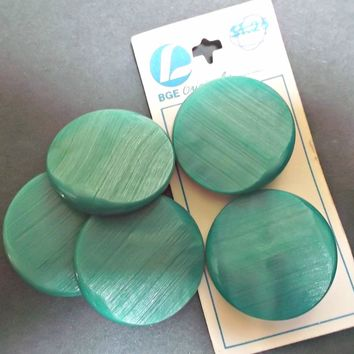 Large Vintage Aqua Buttons Five with Metal Shanks Crafts Sewing