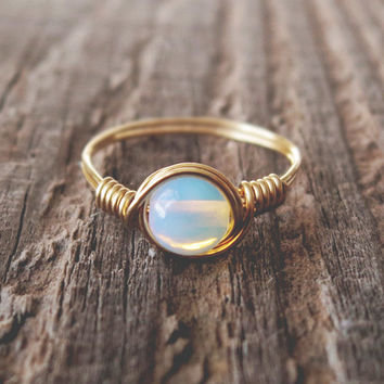 Opalite Ring - prom rings - 0% factory  100% handmade!