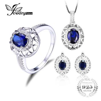 Jewelrypalace Blue Oval Lab Created Sapphire Fine Jewelry Set