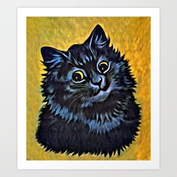 Louis Wain's Cats - Black Cat Art Print by digitaleffects