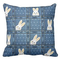 """Patchwork Bunny"" THROW PILLOW"